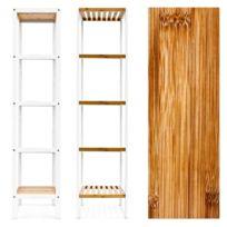 Étagère de salle de bain en bambou avec 5 niveaux 144 cm 3213079