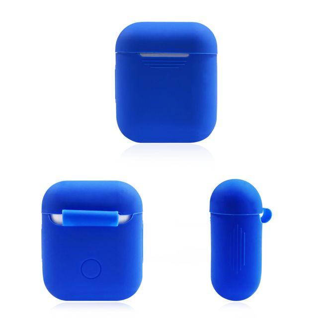 Coque Silicone pour AirPods Apple Boitier de Charge Grip Housse Protection BLEU