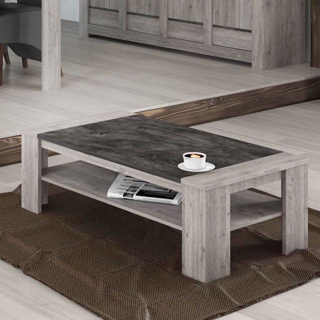 Sofamobili Table de salon 130 cm moderne couleur chêne gris Anais