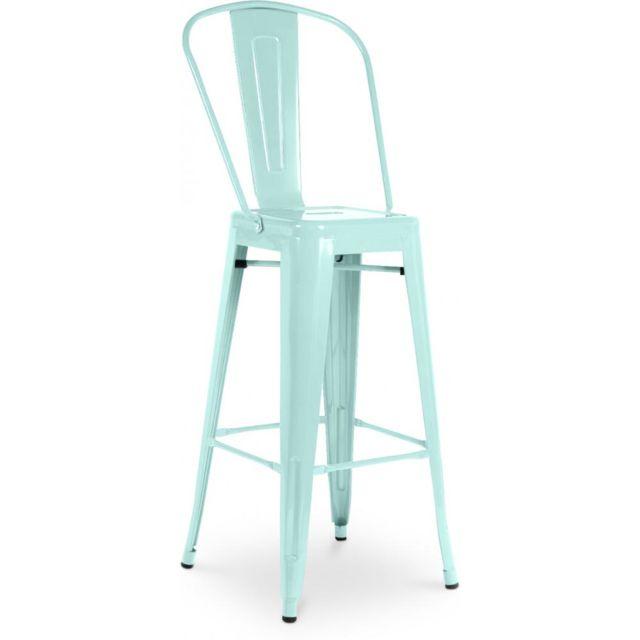 Privatefloor Tabouret inspiration Tolix assise carrée avec dossier Xavier Pauchard Style - 60cm Bleu clair