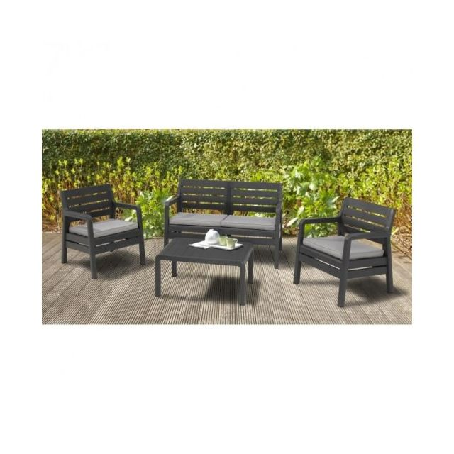 Allibert jardin - Delano Salon de jardin bas 4 places graphite - pas ...