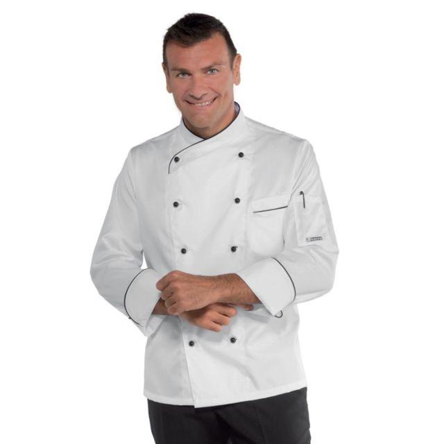 Isacco Veste de cuisine Blanche motifs noirs Panama Slim 100% coton satin