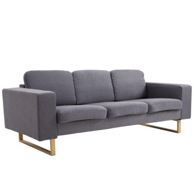 HOMCOM Canapé 3 places design contemporain 200L x 82l x 78H cm pieds métal imitation bois tissu gris chiné