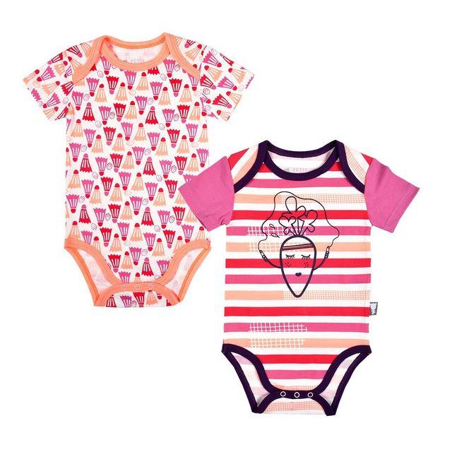 d0964b21570d2 Petit Beguin - Lot de 2 bodies bébé fille manches courtes Petite Carotte -  Taille -