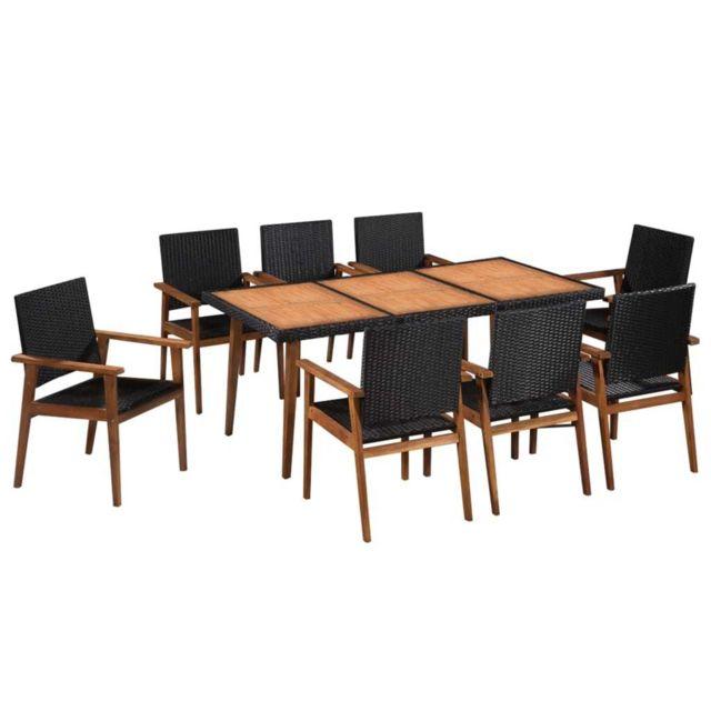 VIDAXL Mobilier d'extérieur 9 pcs Résine tressée Noir et marron - Meubles/Meubles de jardin/Ensembles de meubles d'extérieur |