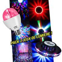 Lytor - Pack soirée Dj lumière Ampoule à Leds Rvba rotative + Jeu de lumière style Ovni