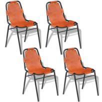 Esthetique Fauteuils gamme Ngerulmud Chaises de salle à manger 4 pièces 59 x 44 x 89 cm Marron Cuir