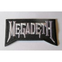 Universel - Patch groupe megadeth noir blanc 8x4 cm rouge ecusson thermocollant hard rock