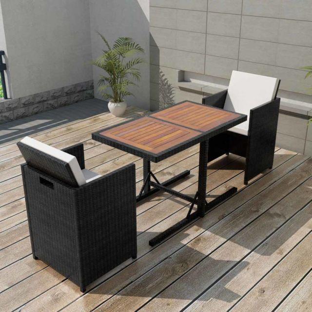 Vidaxl Salon de jardin encastrable 3 pcs avec coussins Rotin Noir