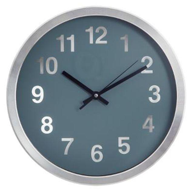 Paris prix horloge murale design aluminium 30cm bleu pas cher achat vente horloges for Prix horloge
