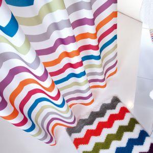 sorema rideau de douche en polyester chevrons multi 180x200cm zigzag pas cher achat vente. Black Bedroom Furniture Sets. Home Design Ideas