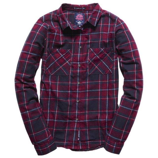 ab084dcf241c8 Superdry - New Lumberjack Chemise Ml Femme - Taille M - Rouge - pas cher  Achat   Vente Chemise femme - RueDuCommerce