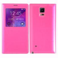 Vcomp - Coque Etui Housse Pochette Plastique View Case pour Samsung Galaxy Note 4 Sm-n910F/ Note 4 Duos Dual Sim, N9100/ Note 4 CDMA, / N910C N910W8 N910V N910A N910T N910M - Rose