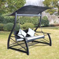 Balancelle de jardin Rotin synthétique Noir 167x130x178cm   Noir