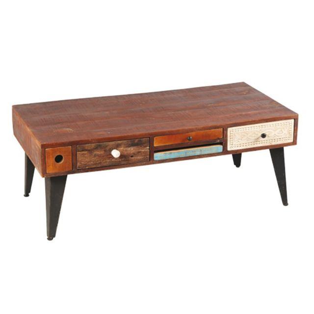 Tousmesmeubles Table basse Rectangulaire 5 tiroirs bois de Palissandre - Denver