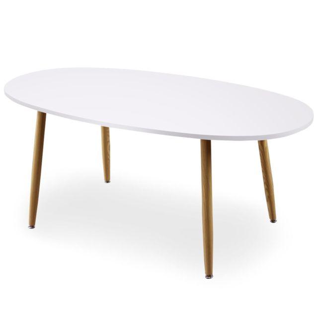 MENZZO Table ovale scandinave Nolane Blanc