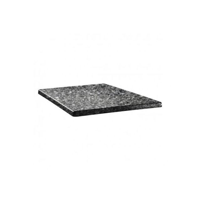 Topalit Plateau de table granite noir 70cm carré Granite noir 700 mm