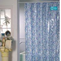 Msv - Rideau de douche pvc 180x200cm mosaique bleue