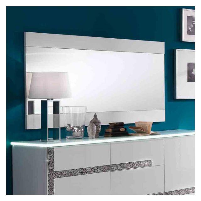 Dansmamaison Miroir rectangulaire Blanc laqué - Crac - L 150 x l 2 x H 81 cm