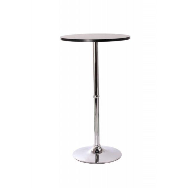 Decoshop26 Table haute de bar bistrot noir 108cm Tab09002
