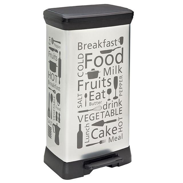 curver kitchen poubelle p dale 50 l aspect m tal. Black Bedroom Furniture Sets. Home Design Ideas