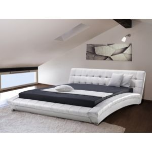 beliani lit design en cuir lit double 180x200 cm. Black Bedroom Furniture Sets. Home Design Ideas