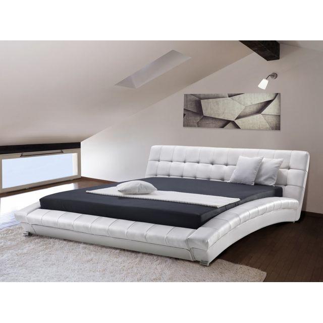 Beliani Lit à eau - lit en cuir 160x200 cm - blanc - Lille