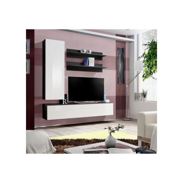 Price Factory Meuble Tv Fly H1 Design Coloris Noir Et Blanc