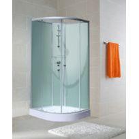 SCHULTE - Cabine de douche arrondie, 90 x 90 x 190 cm, cabine de douche intégrale arrondie avec portes coulissantes, verre transparent, ouverture vers la gauche, Corsica