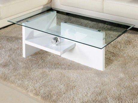 Vente-unique Table basse Maurane Ii - Verre trempé et Mdf laqué - Coloris : Blanc