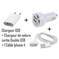 Cabling - Chargeur 3 en 1 Secteur + Voiture double Usb + Usb Pour iPhone iPod Nano Touch Mp3 Mp4 , Iphone 3, Iphone 3GS, Iphone 4 Chargeur secteur Usb pour iPhone iPod Nano Touch Mp3 Mp4 , Ipho