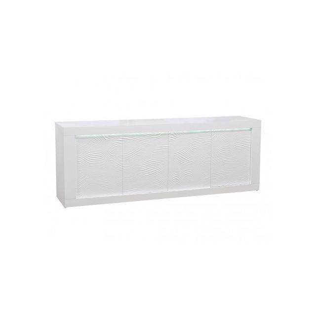 Buffet ECLIPSE - LEDs - MDF laqué blanc - 4 portes