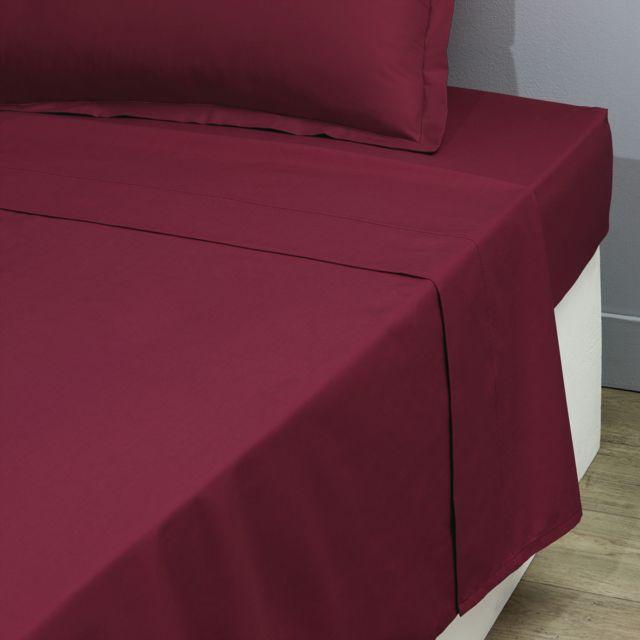 tex home drap plat en percale de coton durable bordeaux 300cm x 240cm pas cher achat. Black Bedroom Furniture Sets. Home Design Ideas