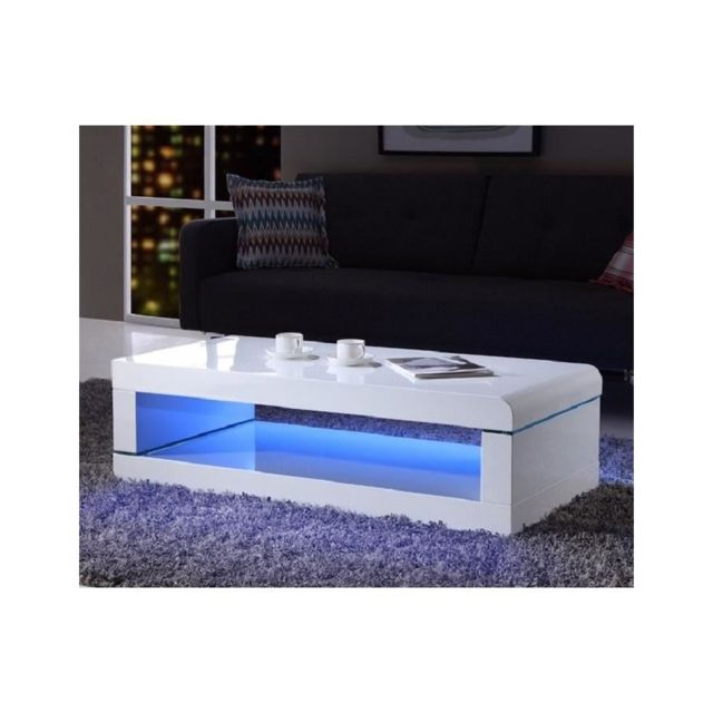 Usines Discount Luz Table Basse 120cm Laque Blanc Brillant Avec