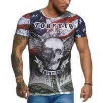 Cabin - T-shirt homme tête de mort T-shirt 1164 bleu Usa
