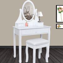 IDMARKET - Coiffeuse table de maquillage en bois avec miroir et tabouret