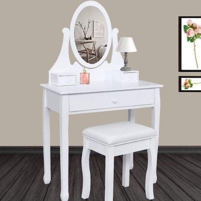 IDMARKET - Coiffeuse table de maquillage en bois avec miroir et tabouret ad443c10b8fb