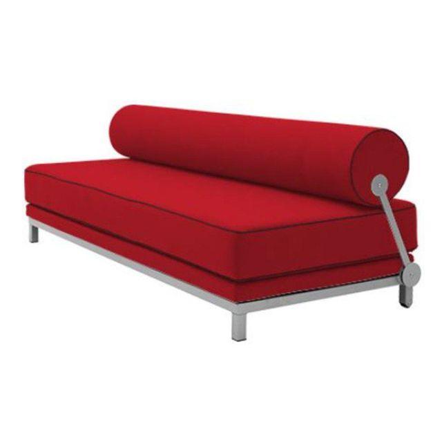 Inside 75 Canapé lit convertible design Sleep en tissu laine rouge structure aluminium Softline