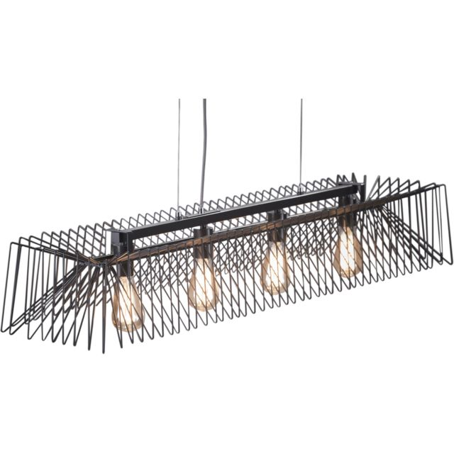 COMFORIUM Lampe Suspension design 4L rectangulaire avec cadre filaire en acier