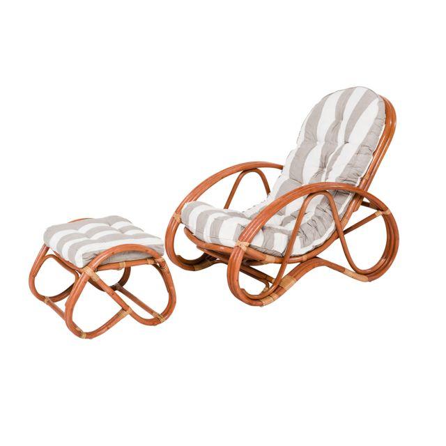 Rotin-design Soldes: -36% Fauteuil et repose pied en rotin Panama - Rotin Design