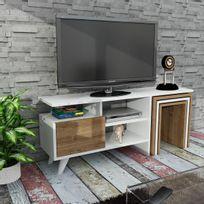 Alphamoebel - Meuble Tv Nature blanc et noyer 49x120x29,5 cm