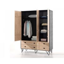 vipack armoire william en bois massif vernis naturel et noir 3 portes avec tiroirs - Armoire Bois Massif Pas Cher