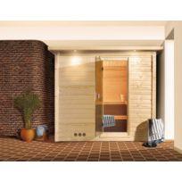 Karibu - Sauna bois 40mm d'intérieur Mojave 2/3 places avec porte en verre et couronne de toit avec poêle 9kW avec commande externe