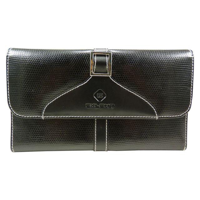 fdf8f57949f6 Chaussmaro - Compagnon femme porte chéquier portefeuille talon haut motif  peau croco simili cuir