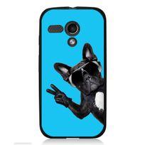 Kabiloo - Coque noire pour Motorola Moto G impression chien à lunettes sur fond bleu