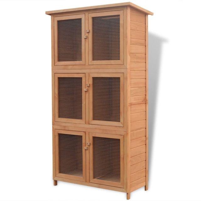 Vidaxl Cage pour animaux 6 compartiments Bois | Brun
