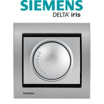 Siemens - Va et Vient Variateur 500W Silver Delta Iris + Plaque Métal Alu Silver