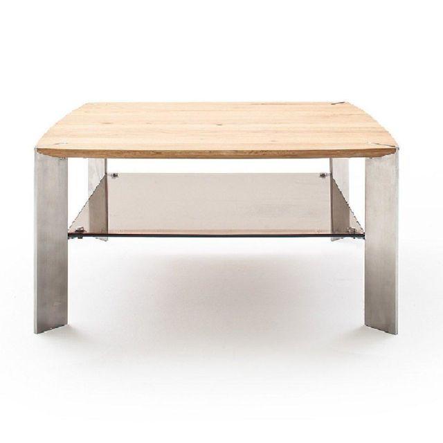 Inside 75 Table basse Nevers en bois de chêne massif huilé et acier 80 x 80 cm