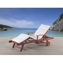 Beliani - Transat en bois - chaise longue inclinable avec coussin beige - Toscana