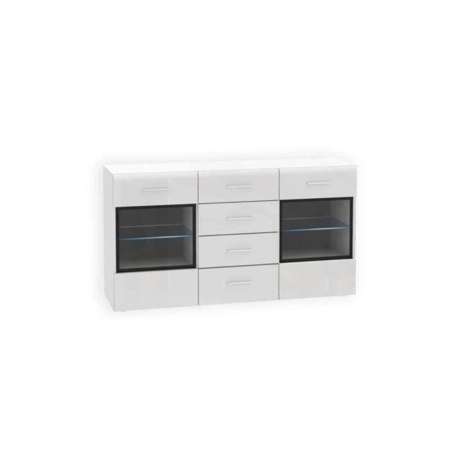 SLATE Buffet bas contemporain blanc brillant - L 150 cm